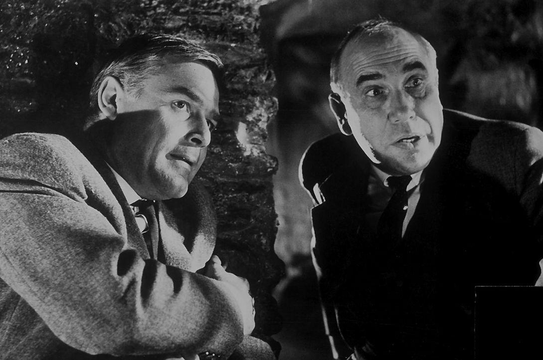 Inspektor Puddler (Charles Regnier, r.) von Scotland Yard steht vor einem Rätsel: Wer ist der geheimnisvolle ?Schwarze Abt?, der im Schloss von Lor... - Bildquelle: Constantin Film