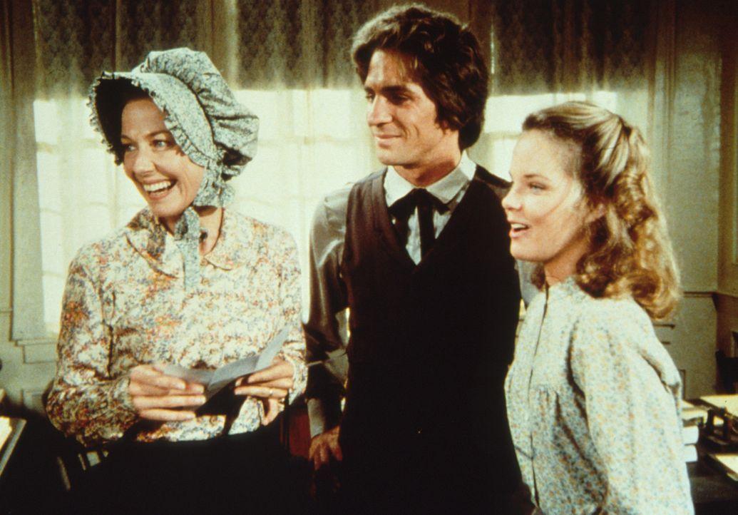 Mary (Melissa Sue Anderson, r.) und Adam (Lindwood Boomer, M.) freuen sich schon auf ihre gemeinsame Fahrt in der Postkutsche ... - Bildquelle: Worldvision