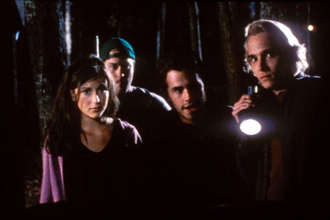 Am Abend - (v.l.n.r.) Marcy (Cerina Vincent), Bert (James DeBello), Paul (Rider Strong) und Jeff (Joey Kern) sind gerade dabei, es sich in der Hütt... - Bildquelle: Tiberius Film