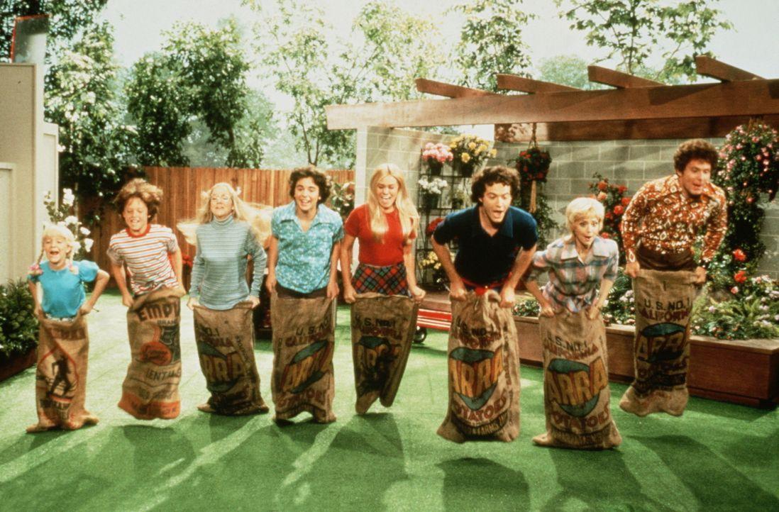 Die Brady sind eine rundum glückliche Familie: Cindy (Olivia Hack), Bobby (Jesse Lee), Jan (Jennifer Elise Cox), Peter (Paul Sutera), Marcia (Christ...