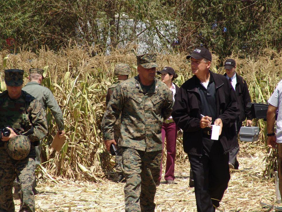 Nachdem ein Pilot spurlos verschwunden ist, beginnt Gibbs (Mark Harmon, r.) mit den Ermittlungen. Lt. Colonel Teague (Robert Rusler, l.) ist ihm dab... - Bildquelle: CBS Television