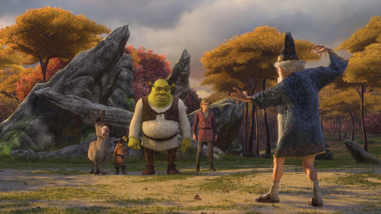 Kann Merlin (r.) Shrek (l.) und Arthur (M.) helfen? - Bildquelle: TM &   2007 Dreamworks Animation LLC