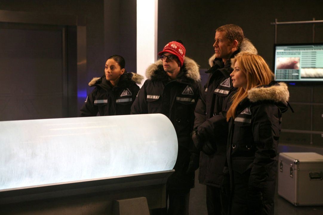 Eiszeit in Eureka: Jo (Erica Cerra, l.), Fargo (Neil Grayston, 2.v.l.), Jack (Colin Ferguson, 2.v.r.) und Tess (Jaime Ray Newman, r.) ... - Bildquelle: Universal Television