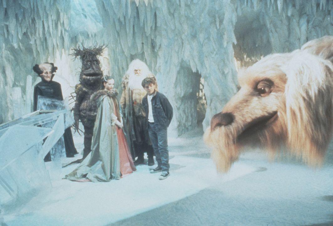 Der Drache Fuchur erzählt Bastian (Jason James Richter, r.) und der kindlichen Kaiserin (Julie Cox, 2.v.r.) von den seltsamen Vorgängen in Phantá... - Bildquelle: Warner Bros.