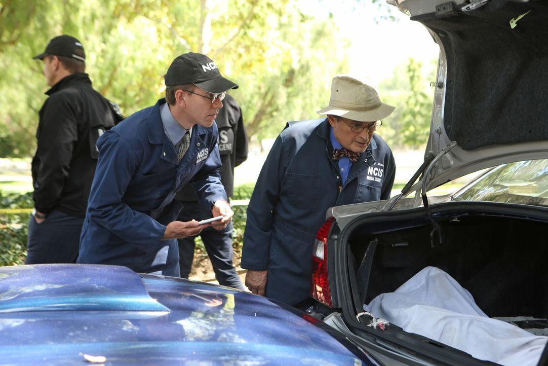 Suchen am Tatort nach Hinweisen: Ducky (David McCallum, r.) und Jimmy (Brian Dietzen, l.) ... - Bildquelle: Monty Brinton CBS Television / Monty Brinton