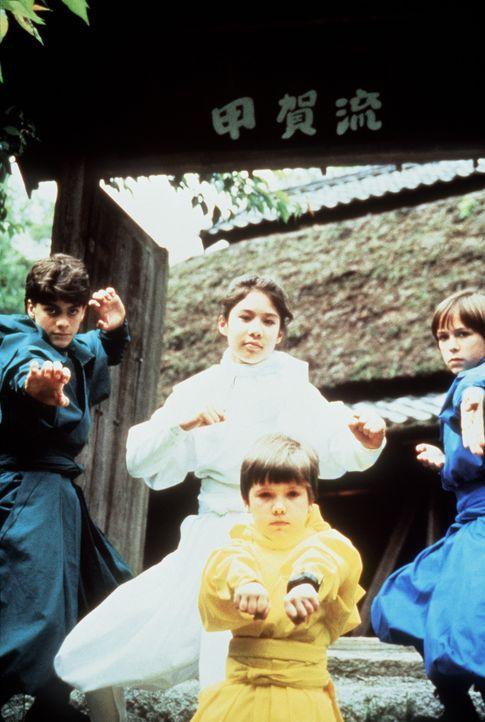Rocky (Sean Fox, l.), Tum Tum (Evan Bonifant, vorne M.), Colt (Max Elliott Slade, r.) und ihre japanische Mitstreiterin Miyo (Caroline Junko King, M... - Bildquelle: Columbia TriStar