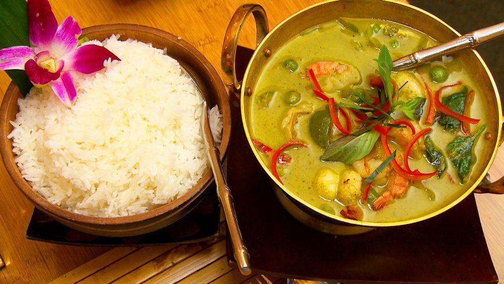 Grünes Thai Curry Mit Garnelen
