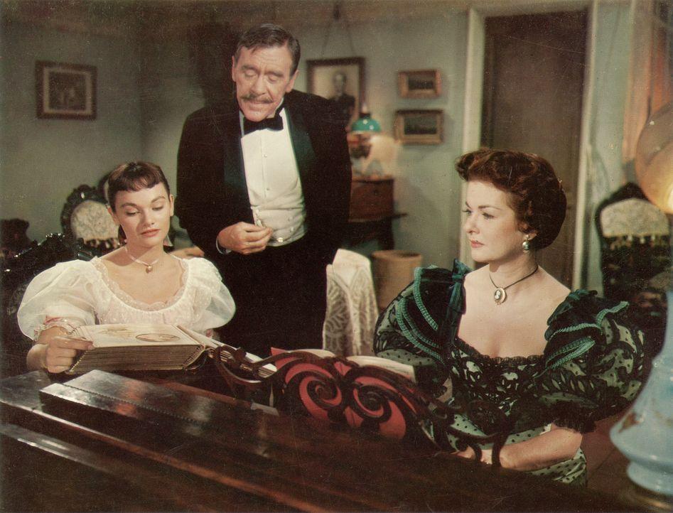 Nach dem die drei Gauner die Finanzen der Kaufmannsfamilie Felix (Leo G. Carroll, M.) und Amelie Ducotel (Joan Bennett, r.) wieder in Ordnung gebrac... - Bildquelle: Paramount Pictures