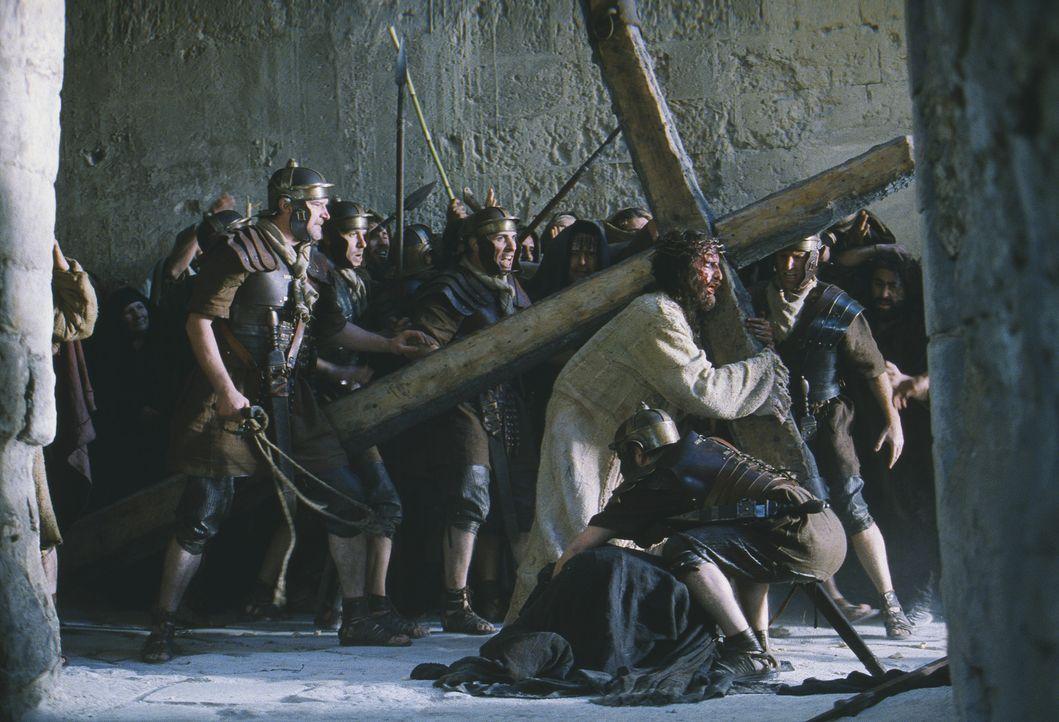 Eine Tortur ohnegleichen nimmt ihren Lauf: Die Soldaten zwingen den bereits schwer gefolterten Jesus (James Caviezel), sein Kreuz eigenhändig zum R... - Bildquelle: Icon Film Distribution Ltd.