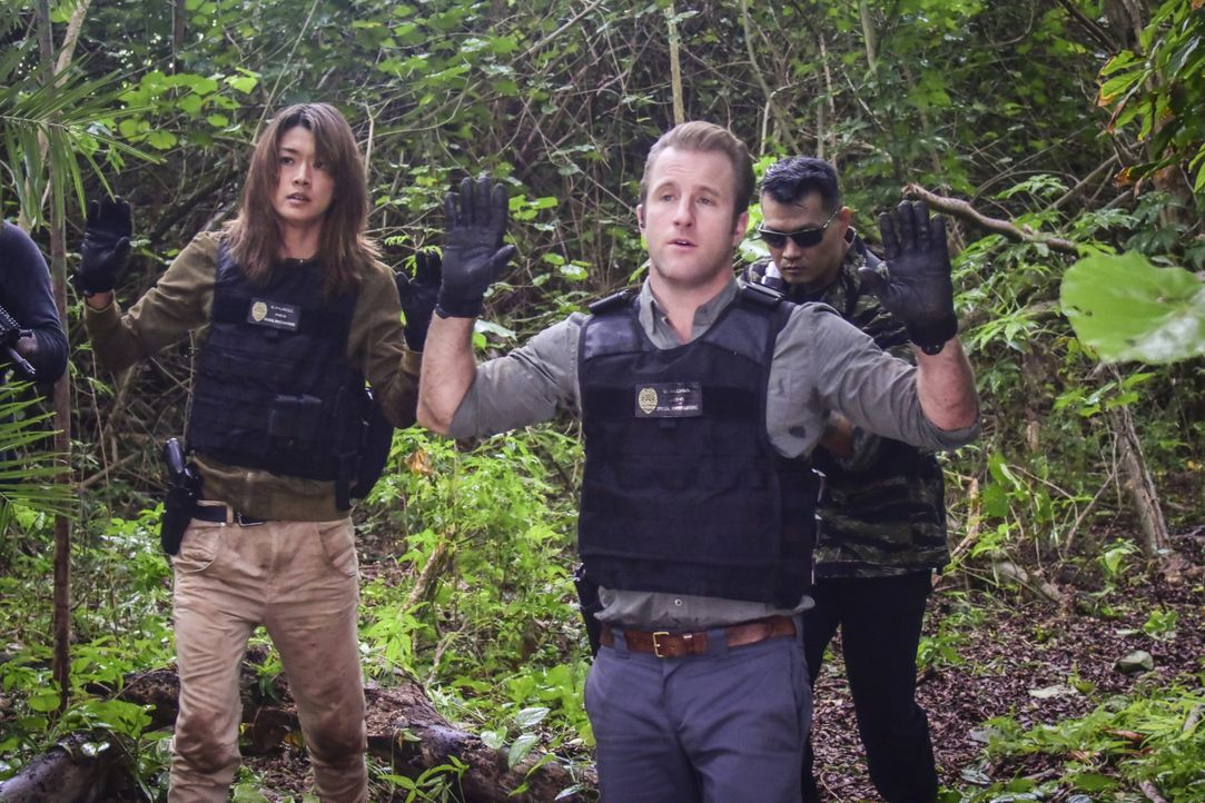 Eigentlich wollten Steve, Danny (Scott Caan, M.), Kono (Grace Park, l.) und Chin in einer geheimen Mission Michelle Shioma festnehmen. Doch plötzlic... - Bildquelle: Norman Shapiro 2016 CBS Broadcasting, Inc. All Rights Reserved / Norman Shapiro