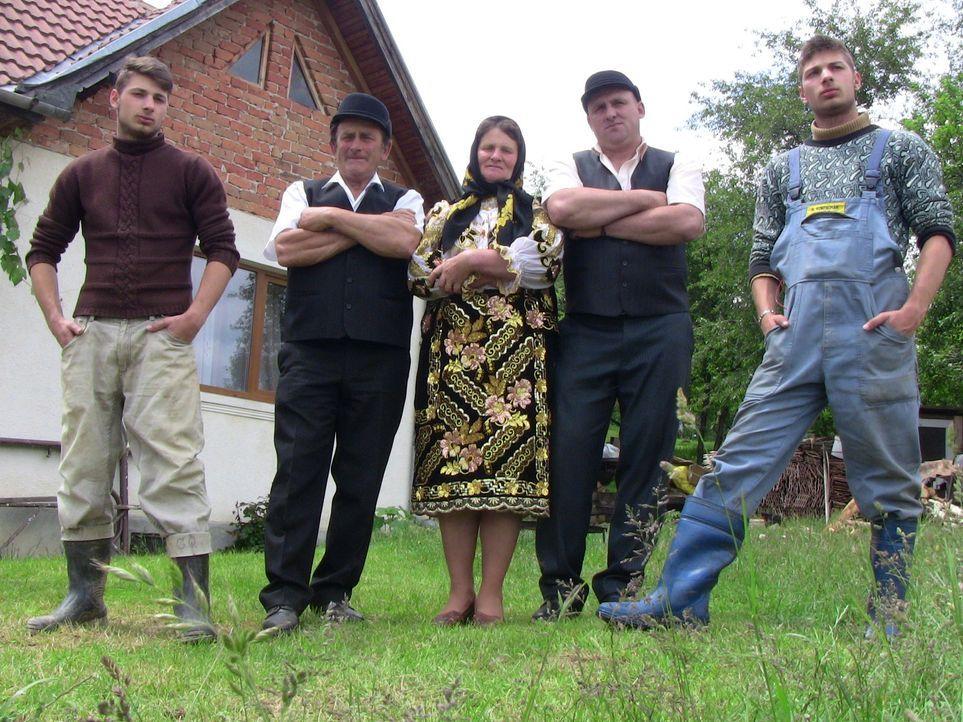 Die rumänische Bauernfamilie Codreanu führt ein hartes Leben. Mühsam ringen Vater Ion (2.v.l.), Mutter Vica (M.) und Sohn Ovidiu (2.v.r.) ihrem Baue... - Bildquelle: SAT.1