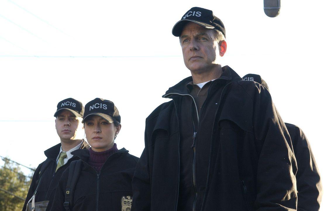 Als im Auto des vermissten Brian McAllister eine Kugel gefunden wird, wird Gibbs (Mark Harmon, r.), Kate (Sasha Alexander, M.) und McGee (Sean Murra... - Bildquelle: CBS Television