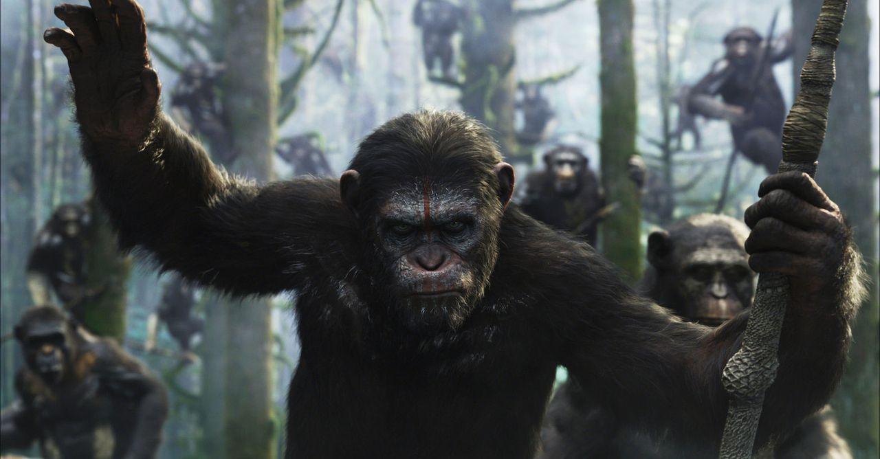 Schon bald muss Caesar (Andy Serkis) erfahren, dass nicht nur unter den Menschen Eigenschaften wie Bösartigkeit, Machtgier und Mord beheimatet sind... - Bildquelle: 2014 Twentieth Century Fox Film Corporation.  All rights reserved.