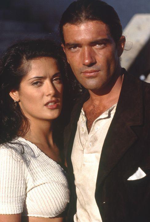 Sind sie den Drogenbaron Bucho und dessen Leute für immer los? Zumindest diesmal sind El Mariachi (Antonio Banderas, r.) und Carolina (Salma Hayek,... - Bildquelle: Columbia Pictures
