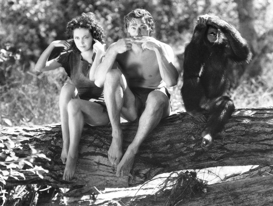 Jane (Maureen O'Sullivan, l.); Tarzan (Johnny Weissmuller, r.) - Bildquelle: 1936 Warner Bros. Entertainment Inc. All Rights Reserved.