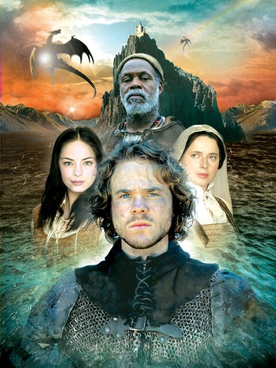 Die Mächte des Guten gegen die Mächte des Bösen: (v.l.n.r.) Tenar (Kristin Kreuk), Ged (Shawn Ashmore), Ogion (Danny Glover, hinten) und Thar (Is... - Bildquelle: 2004 Hallmark Entertainment Distribution, LLC