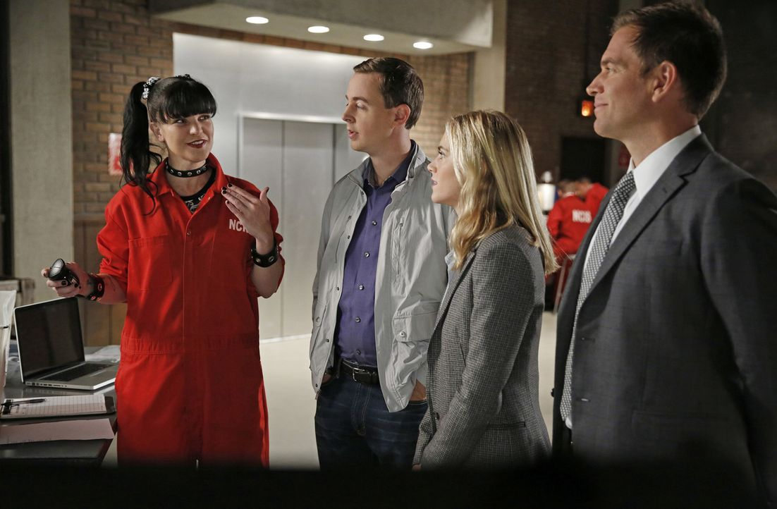 Ein neuer Fall wartet auf Abby (Pauley Perrette, l.), McGee (Sean Murray, 2.v.l.), Eleanor (Emily Wickersham, 2.v.r.) und Tony (Michael Weatherly, r... - Bildquelle: 2014 CBS Broadcasting, Inc. All Rights Reserved