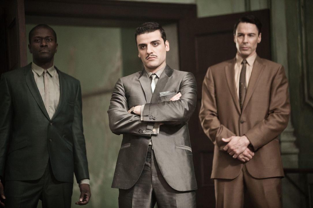 (v.l.n.r.) Danforth (Ron Selmour); Blue Jones (Oscar Isaac); CJ (Richard Cetrone) - Bildquelle: Warner Bros.