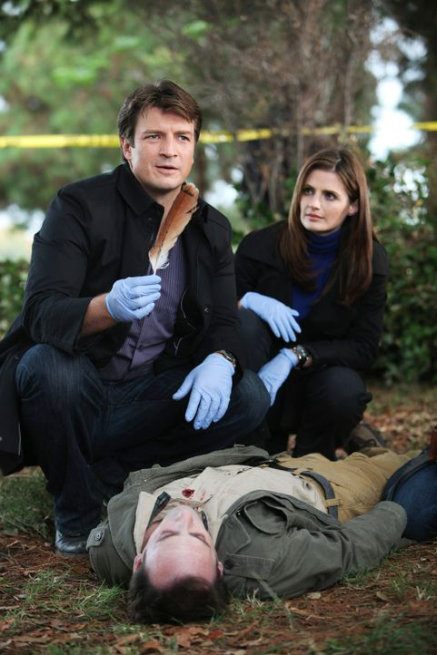 Ob die Feder, die Castle (Nathan Fillion, l.) am Tatort findet, wirklich eine Bedeutung hat? Kate Beckett (Stana Katic, r.) bezweifelt dies sehr ... - Bildquelle: 2010 American Broadcasting Companies, Inc. All rights reserved.