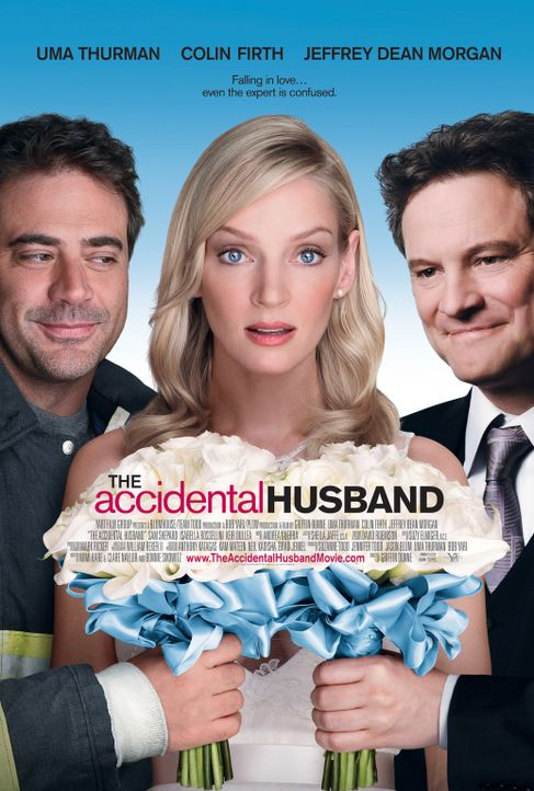 Zufällig verheiratet: Emma (Uma Thurman, M.), Patrick (Jeffrey Dean Morgan, l.) und Richard (Colin Firth, r.) ... - Bildquelle: 2008 Accidental Husband Intermediary, Inc. All Rights Reserved.