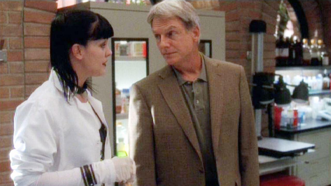 Gibbs (Mark Harmon, r.) erfährt von Abby (Pauley Perrette, l.) weitere Details zur gefundenen Leiche ... - Bildquelle: Sat.1
