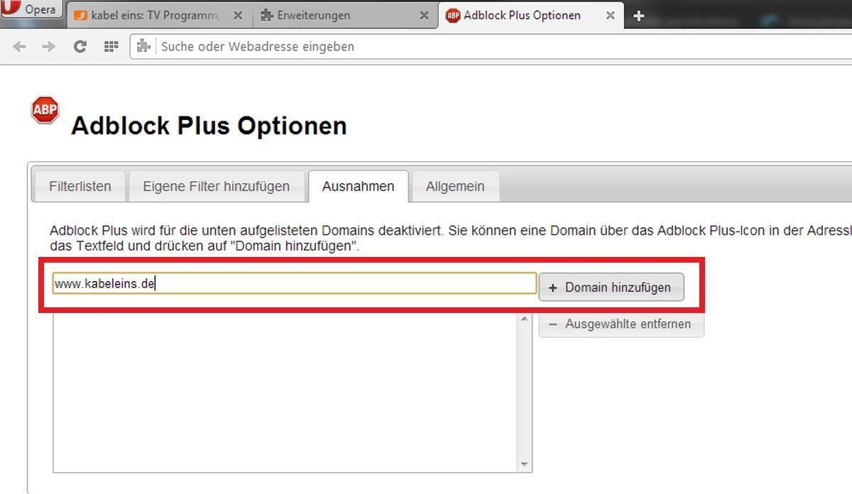 Opera: AdBlocker für bestimmte Seite deaktivieren 2
