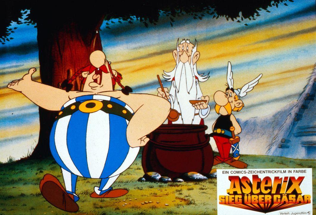 Als Miraculix (M.) Asterix (r.) eine Kelle Zaubertrank einschenkt, beschwert sich Obelix (l.) lauthals. Doch aller Protest nützt nichts: Obelix ist... - Bildquelle: Jugendfilm-Verleih GmbH