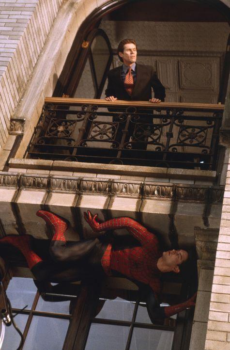 Spider-Man (Tobey Maguire, unten) ahnt, dass ehrgeizige Großindustrielle Norman Osborn (Willem Dafoe, oben) keine guten Absichten hat ... - Bildquelle: 2003 Sony Pictures Television International