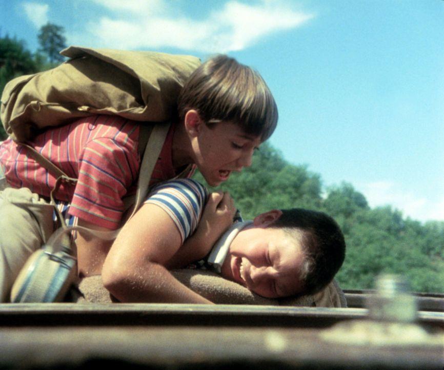 Der Marsch durch die Wildnis wird zu einer Bewährungsprobe für sie alle. Teddy, Vern, Gordie (Wil Wheaton, l.) und Chris (River Phoenix, unten) m - Bildquelle: Columbia Pictures
