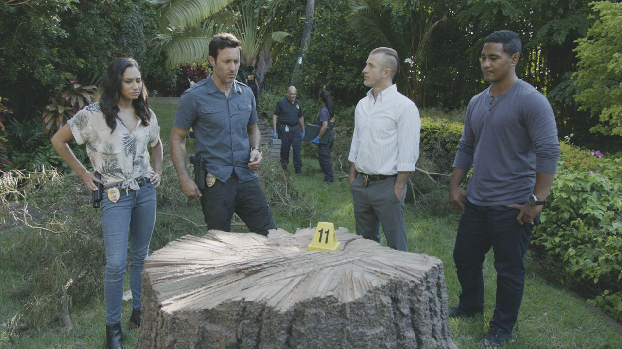 (v.l.n.r.) Tani Rey (Meaghan Rath); Steve McGarrett (Alex O'Loughlin); Danny Williams (Scott Caan); Junior Reigns (Beulah Koale) - Bildquelle: 2019 CBS Broadcasting, Inc. All Rights Reserved.