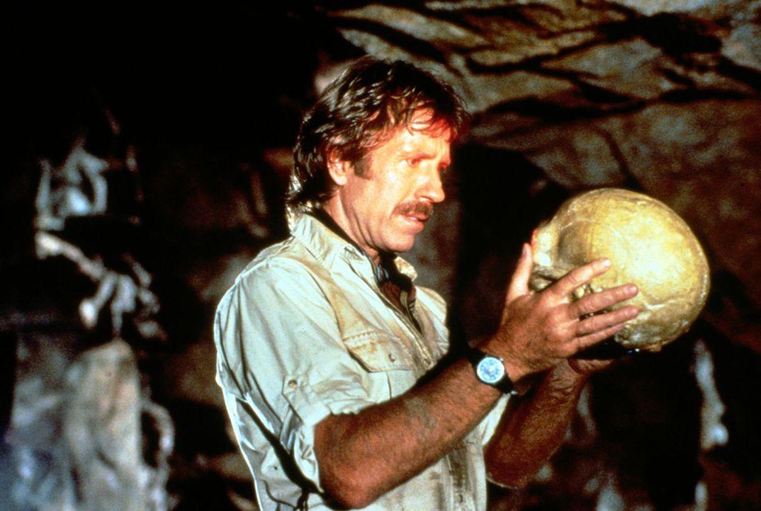 Bei der Suche nach dem Aztekenschatz stößt Max Donigan (Chuck Norris) auf einen Schädel ... - Bildquelle: Cannon Films