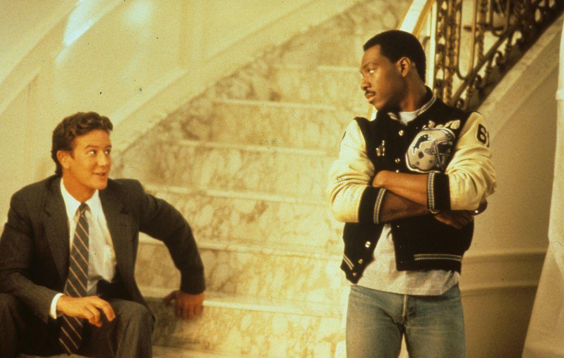 Axel (Eddie Murphy, r.) kehrt von Detroit nach Beverly Hills zurück, um mit seinem alten Partner Billy Rosewood (Judge Reinhold, l.) ein Attentat a... - Bildquelle: Paramount Pictures